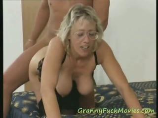 Big tit granny threesome