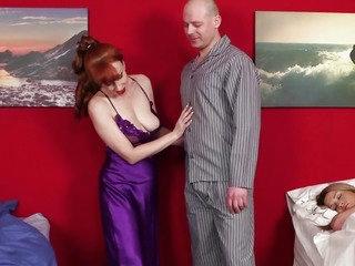 Redhead cfnm aged makes man bust load