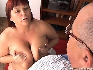 Big tits mature BBW loves to suck cock