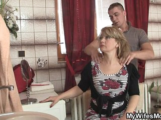 Mom rides son in law cock and his wife comes