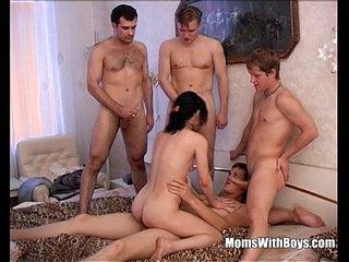 Brunette Granny Takes On Four Teen Hard Cocks