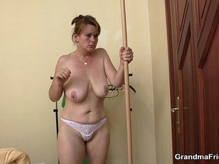 Boozed old mature takes two cocks at once